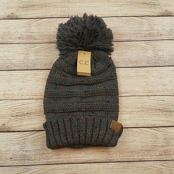 06574a7faa7 C.C brand oversize cable knit confetti pom pom hat